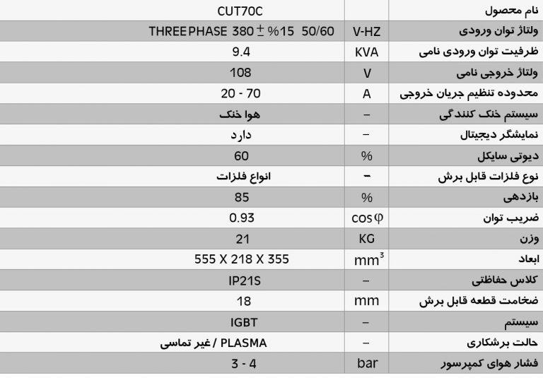 دستگاه برش پلاسما اینورتر  CUT70C